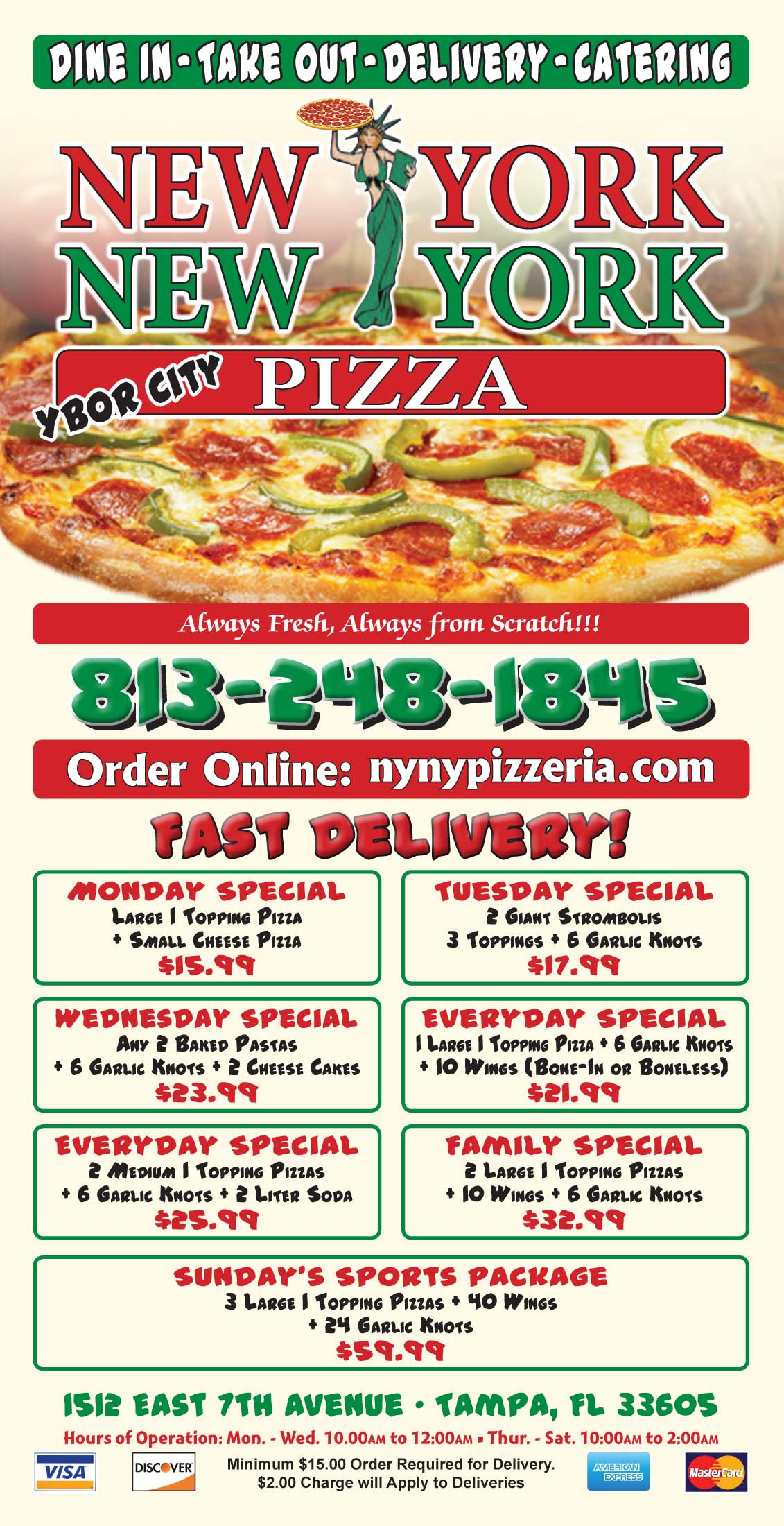 Brochure stickers flyers printing in clearwater florida eagle printing clearwater pizza menu sample reheart Choice Image